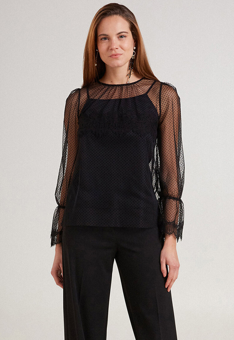 Bluza transparenta cu model cu buline