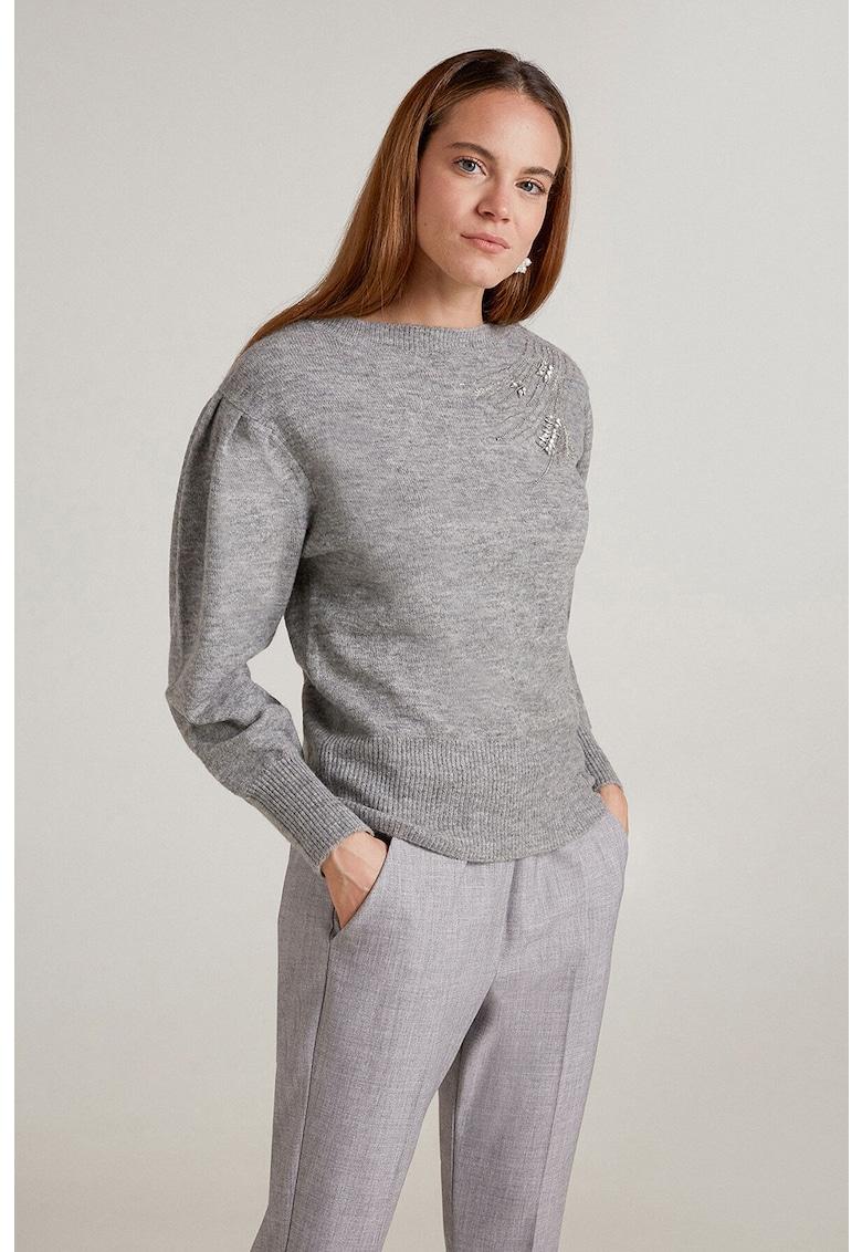 Pulover tricotat fin cu maneci bufante