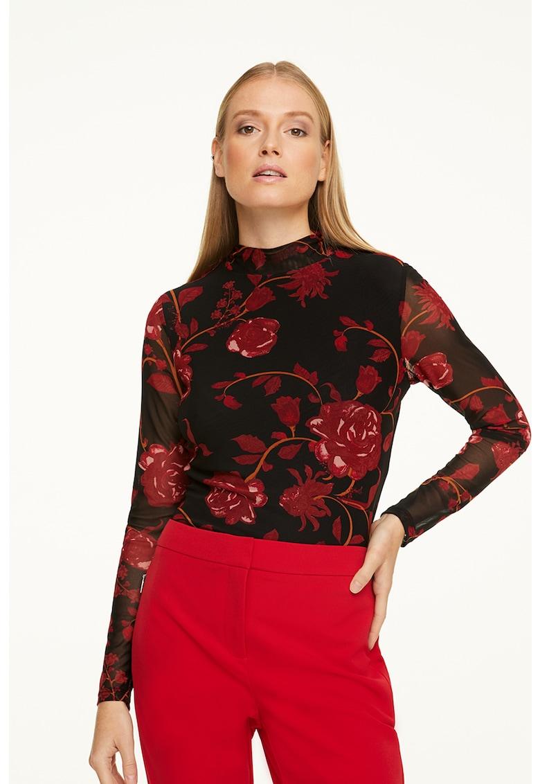 Bluza cu model floral si maneci semitransparente