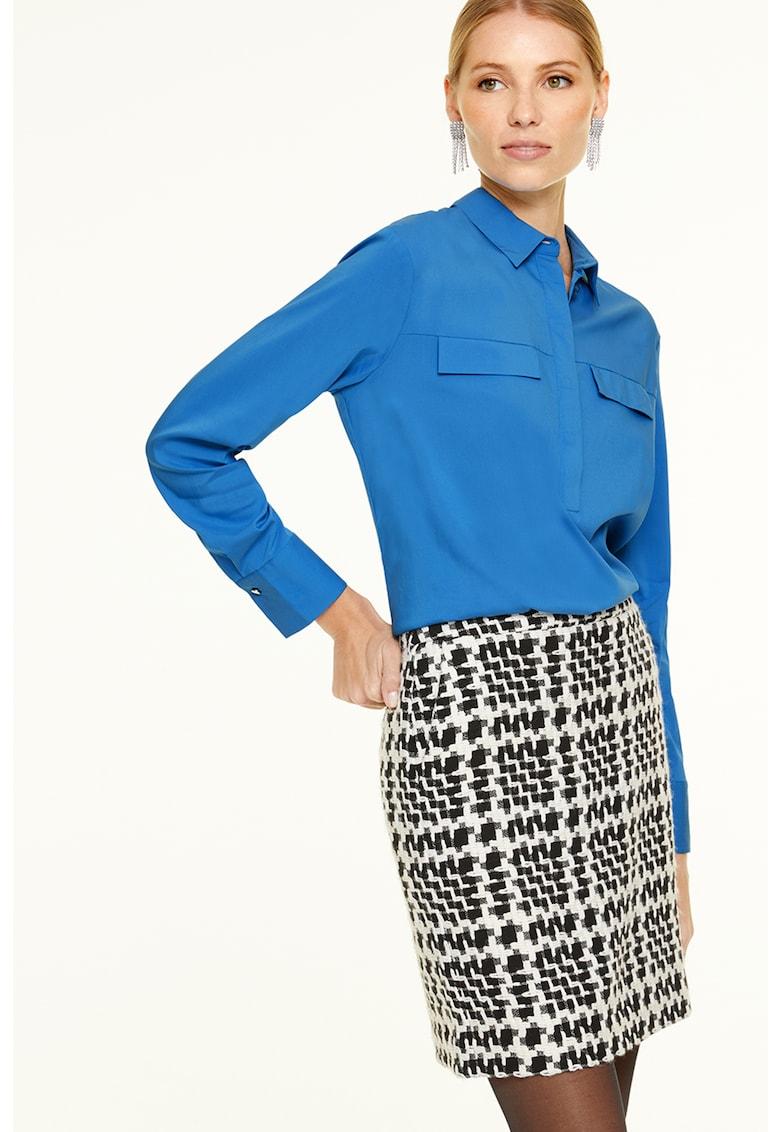 Bluza din amestec de modal cu fenta lunga cu nasturi imagine