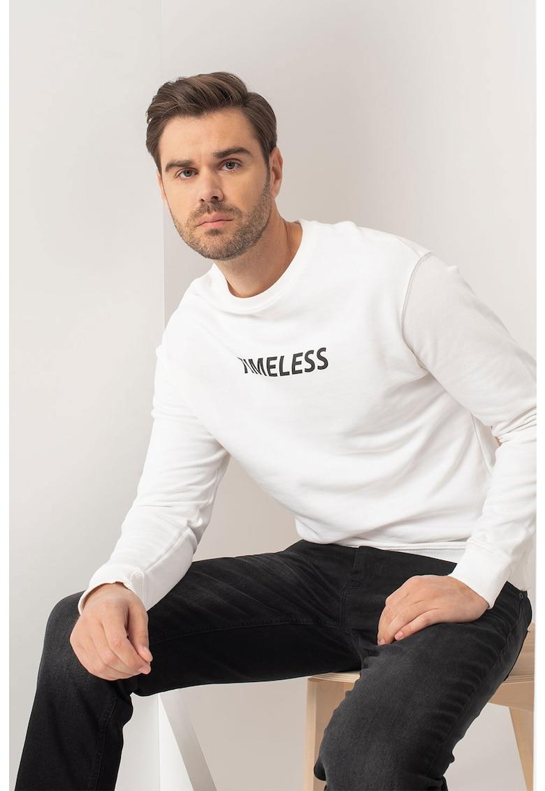 Bluza sport de bumbac organic cu imprimeu text imagine