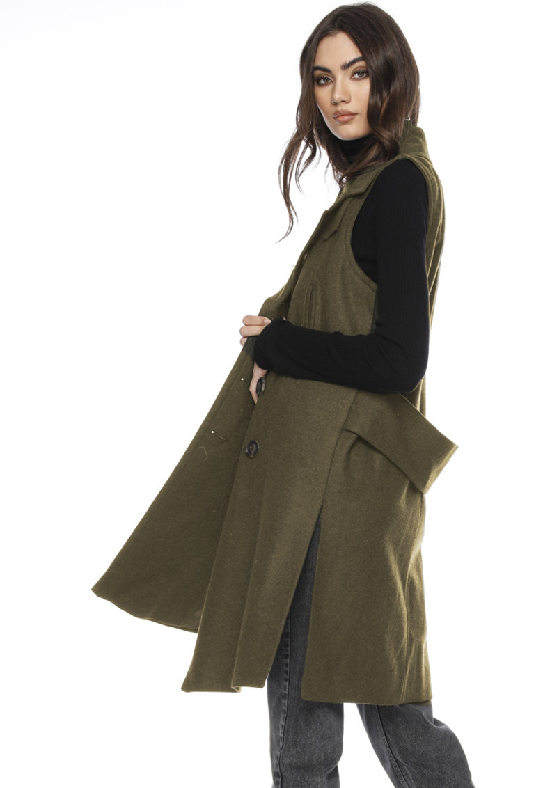 Framboise Palton de lana cu doua randuri de nasturi - fara maneci Lakia