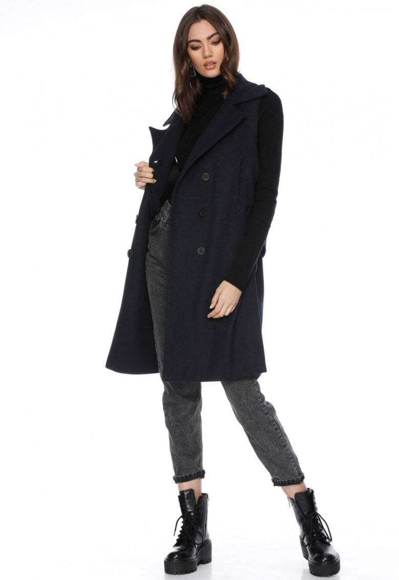 Framboise Palton de lana cu doua randuri de nasturi - fara maneci Gryta