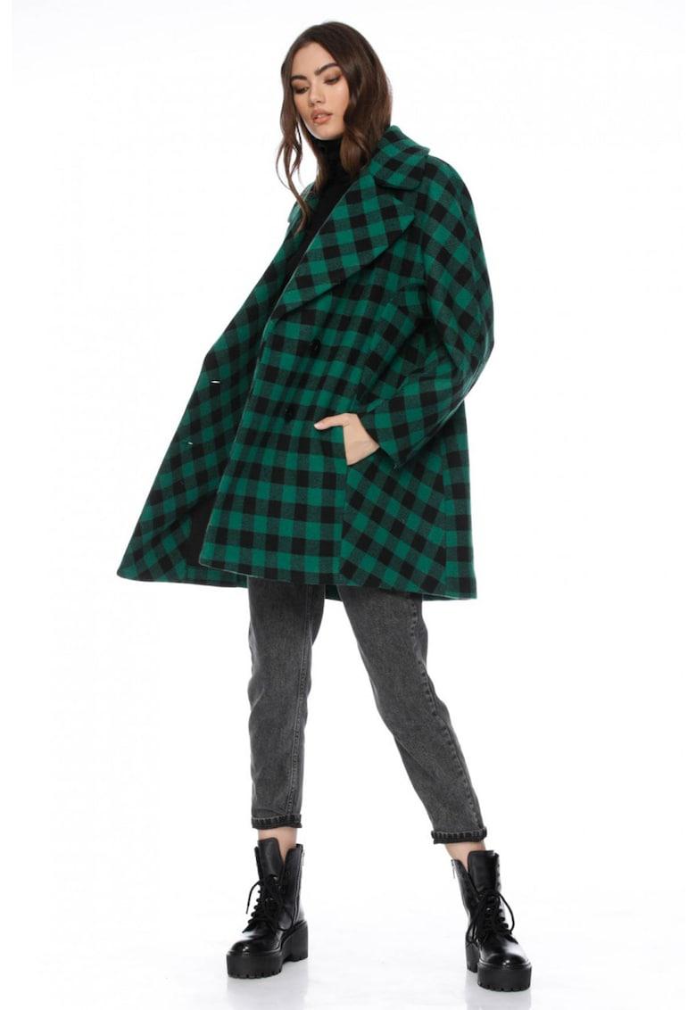 Palton de lana in carouri Kelb