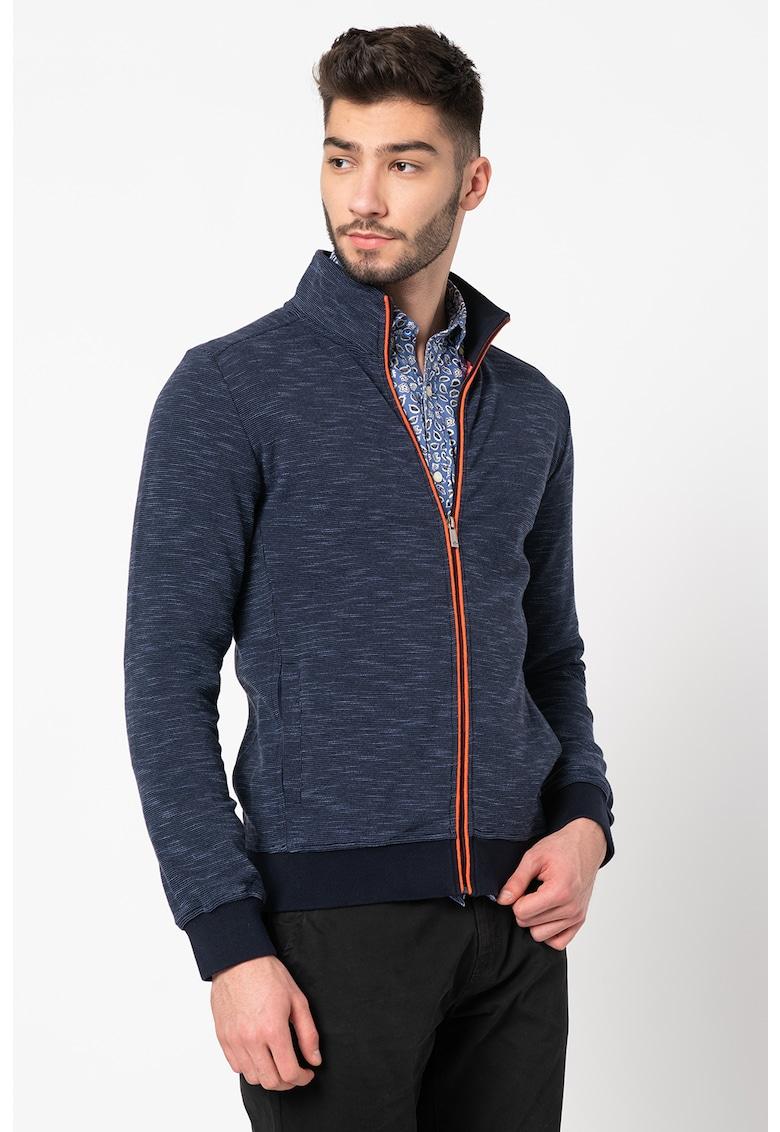 Bluza sport cu fermoar si guler mediu