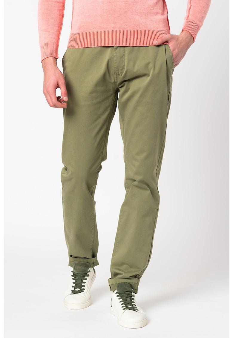 Pantaloni chino conici de satin Napier imagine fashiondays.ro