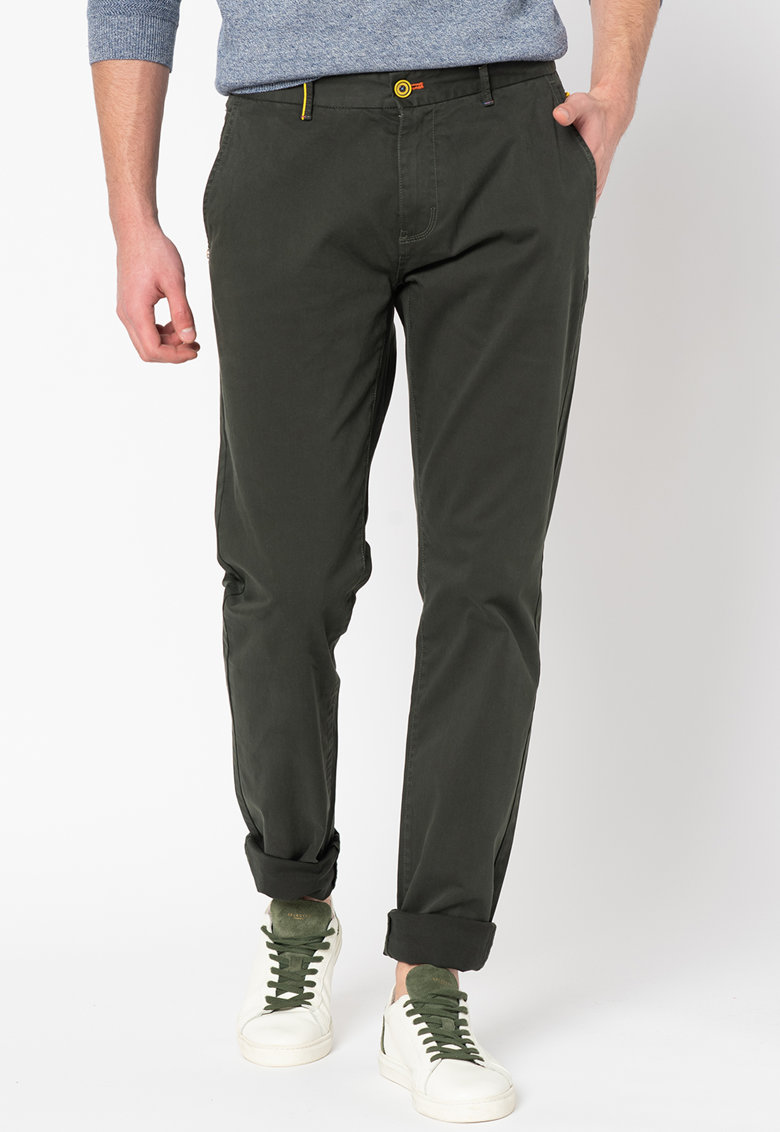 Pantaloni chino conici de satin Napier imagine