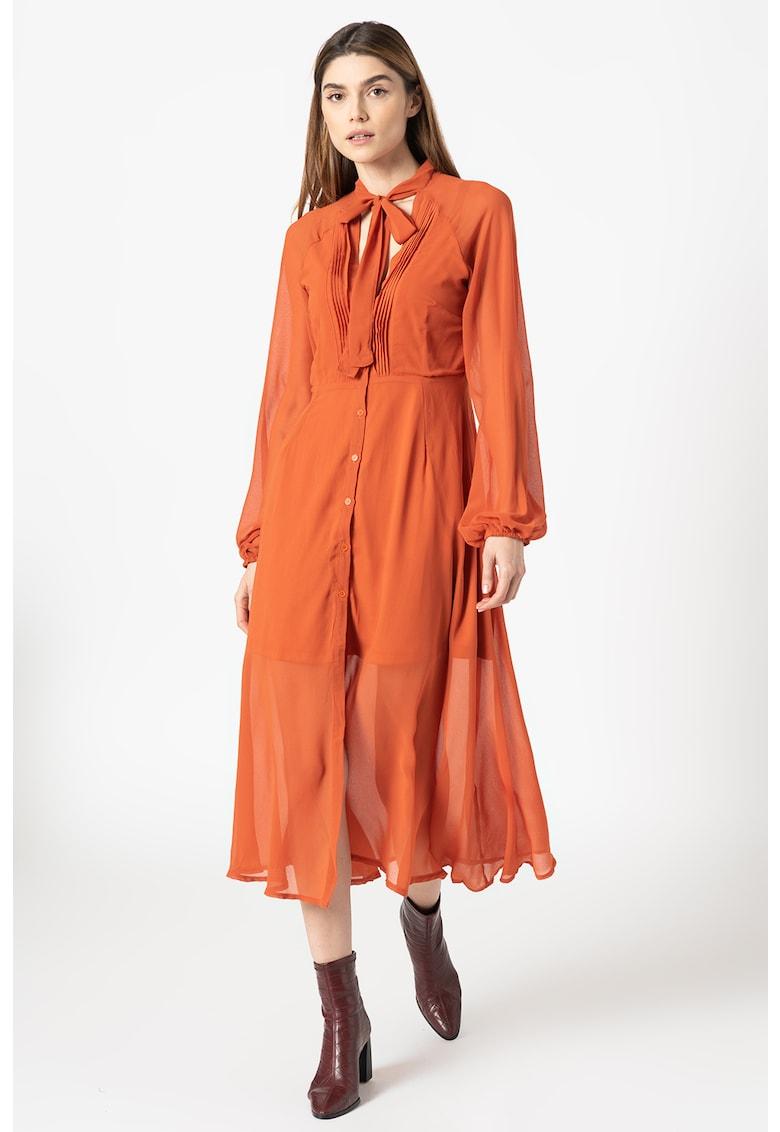 Rochie tip camasa vaporoasa cu guler cu funda din panglici