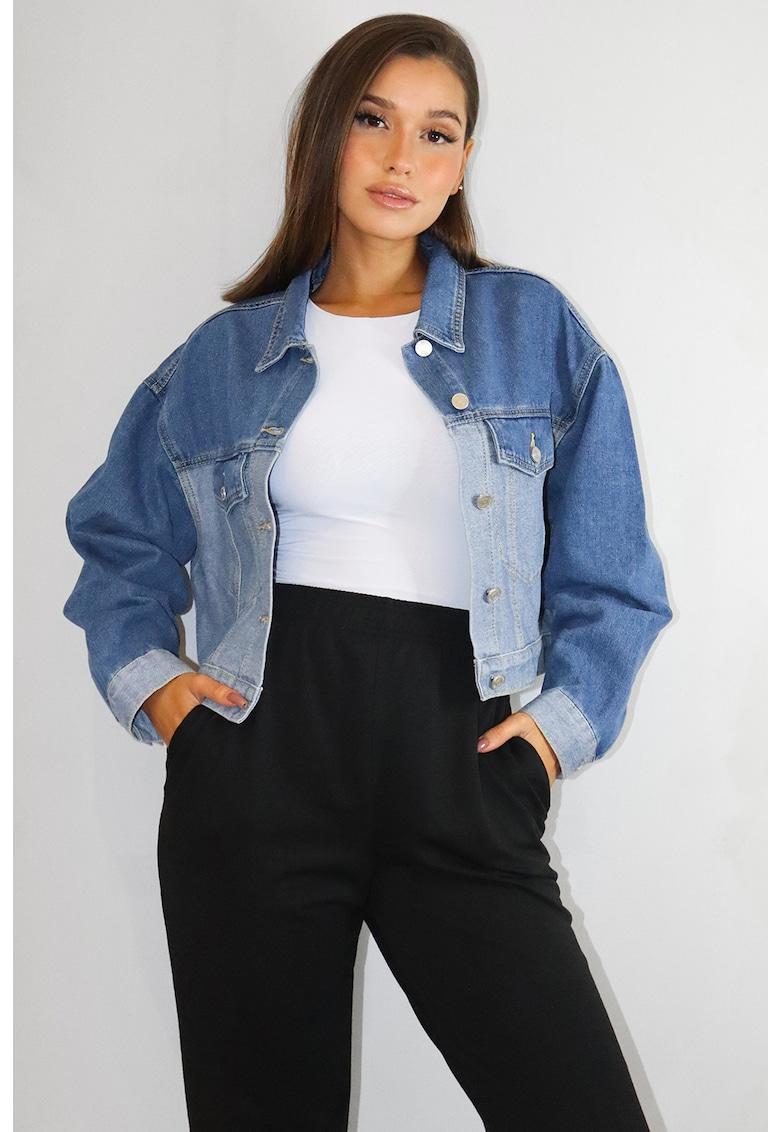 Jacheta de denim cu aspect decolorat
