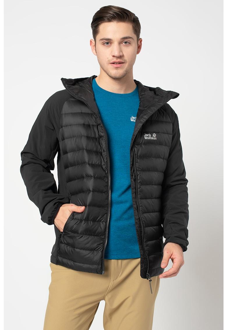 Jacheta cu umplutura de puf si gluga - din material impermeabil - rezistent la vant Hybrid