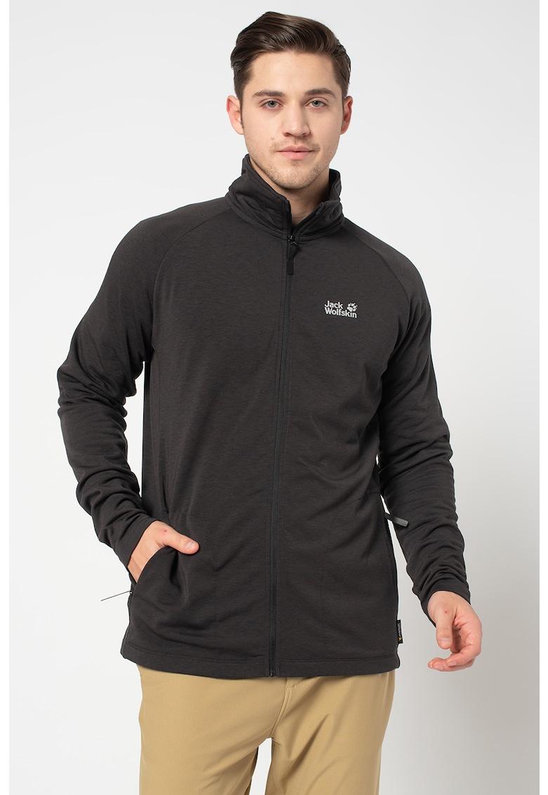 Bluza sport cu fermoar si maneci raglan - pentru drumetii Midlayer imagine fashiondays.ro Jack Wolfskin