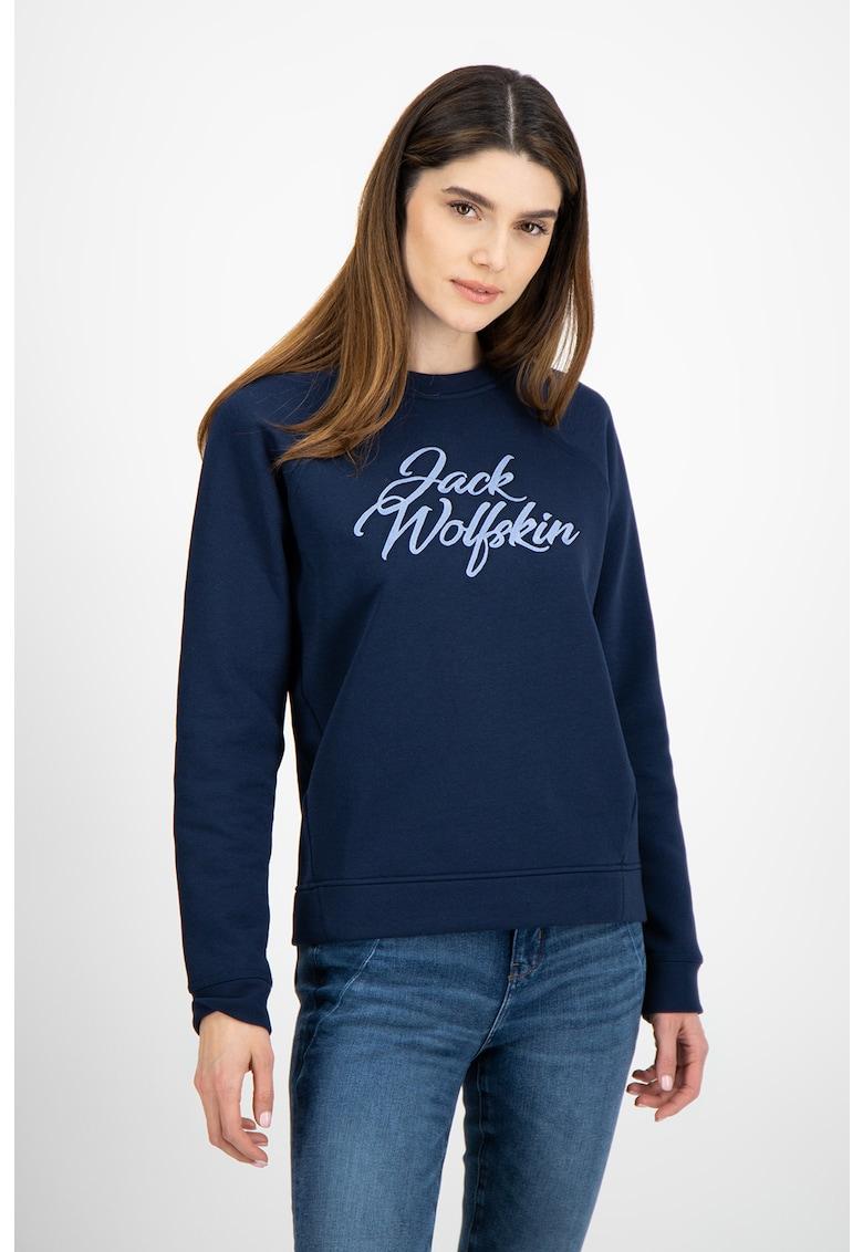 Bluza sport cu maneci raglan si logo Winter imagine fashiondays.ro Jack Wolfskin