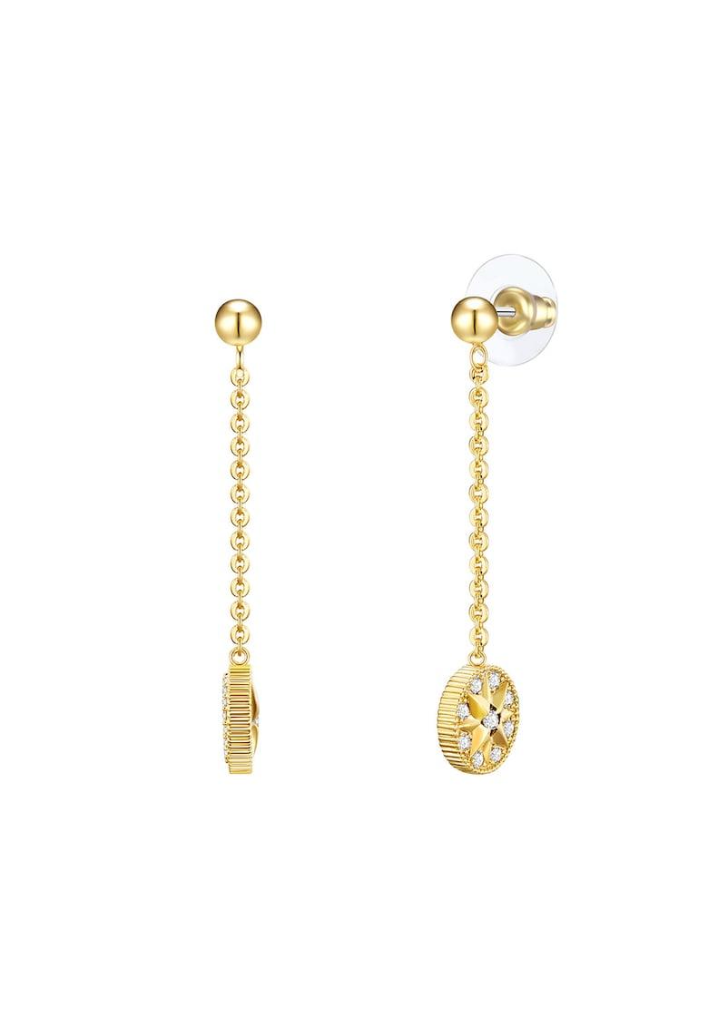 Cercei drop placati cu aur - cu model lant - tija si cristale imagine promotie