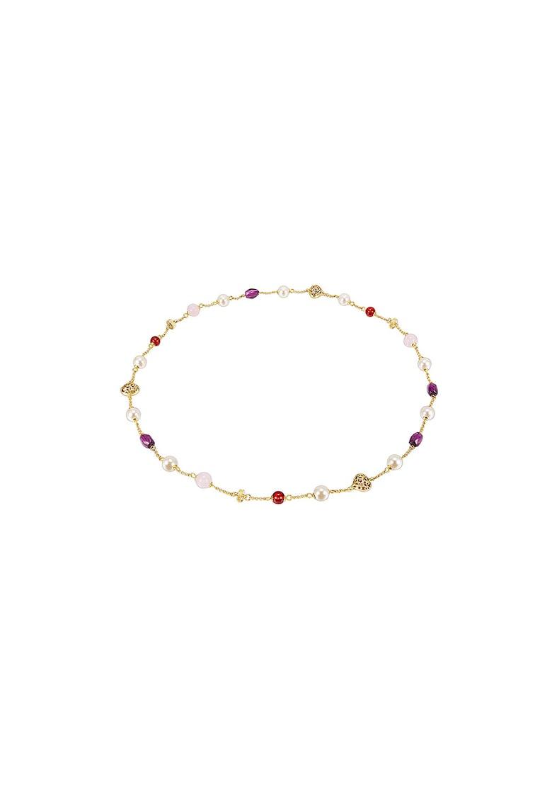 Colier placat cu aur si decorat cu perle sintetice