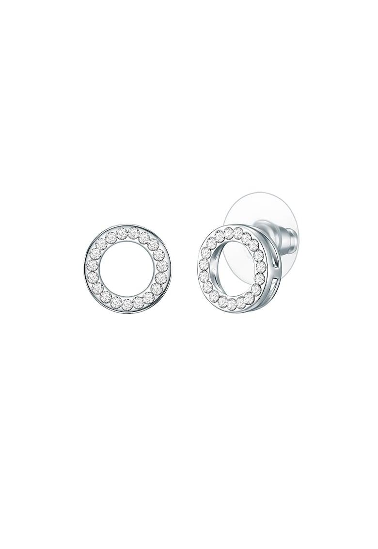 Cercei circulari placati cu rodiu si decorati cu cristale imagine promotie