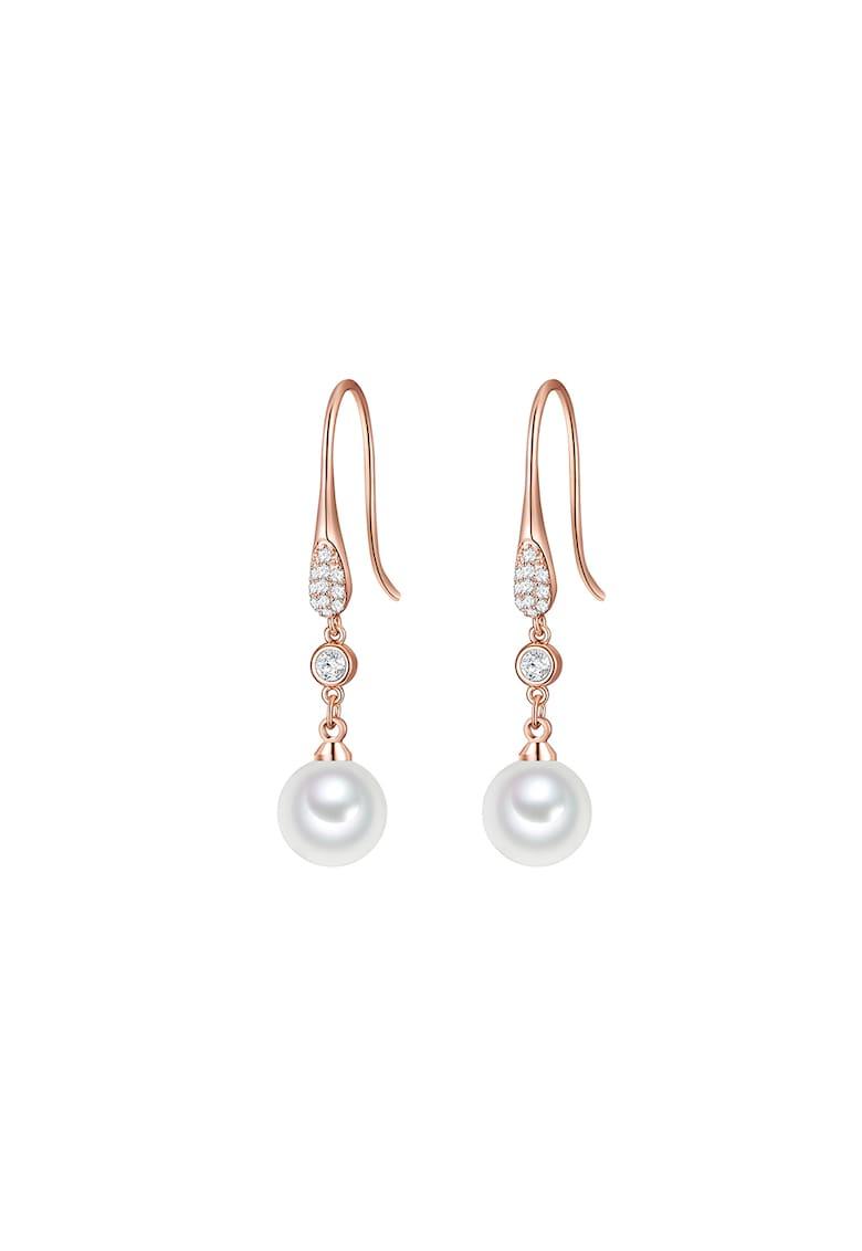 Cercei placati cu aur rose si cu perle organice imagine promotie
