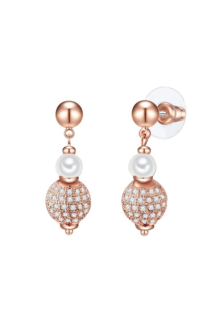 Cercei drop placati cu aur rose si perle imagine promotie