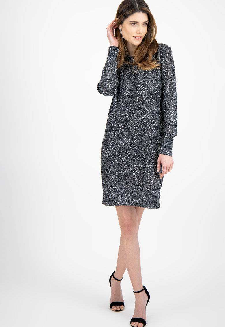 Rochie tip pulover cu aspect stralucitor
