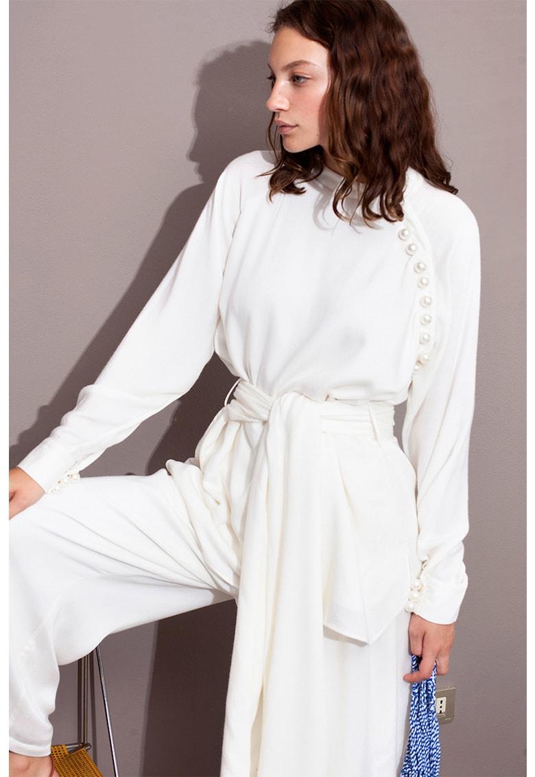 Bluza din amestec de lana cu nasturi din perle sintetice imagine
