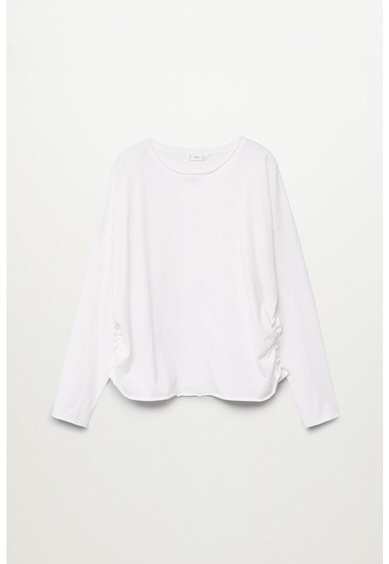 Bluza din bumbac organic cu fronseuri Gris