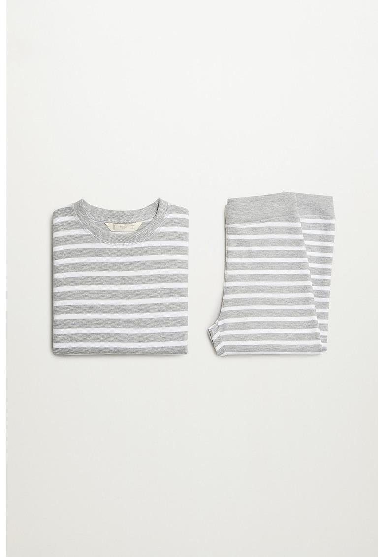 Pijama din amestec de bumbac organic cu model in dungi Winkib imagine fashiondays.ro