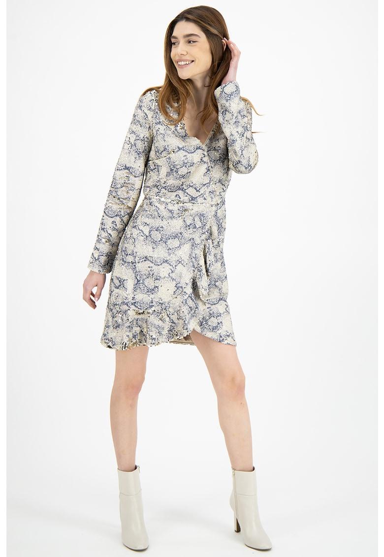 Rochie mini cu paiete si model piele de reptila