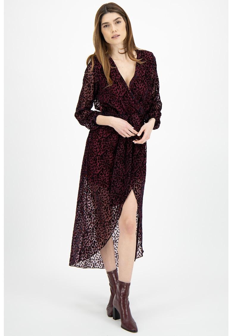 Rochie cu croiala petrecuta si animal print
