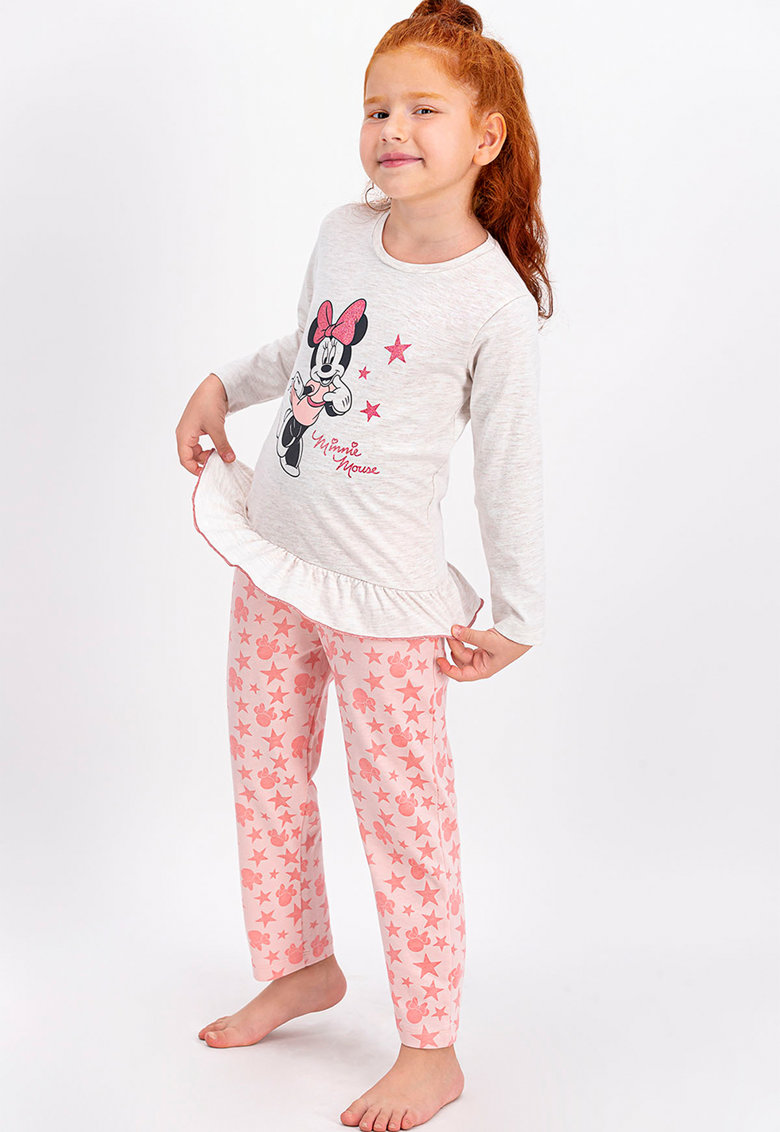 Pijama cu model Minnie Mouse si maneci lungi imagine