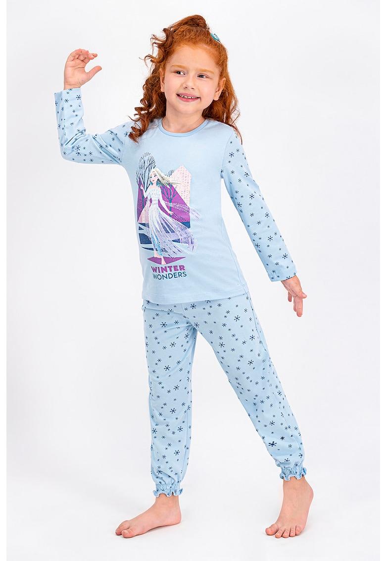 Pijama cu decolteu la baza gatului si imprimeu Frozen imagine