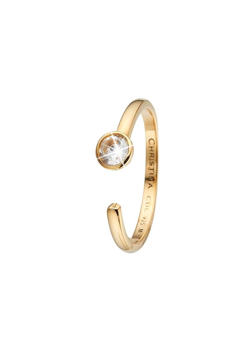 Inel de argint placat cu aur de 18k si decorat cu un topaz