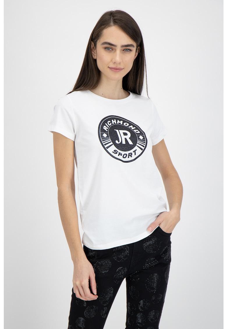 Tricou cu decolteu la baza gatului si imprimeu logo de la John Richmond