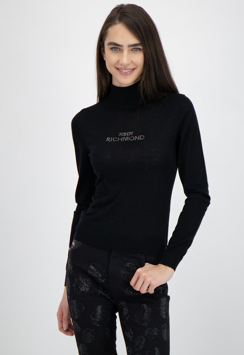 Pulover din amestec de casmir si lana cu guler inalt