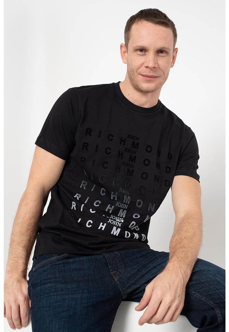 Tricou cu decolteu la baza gatului si imprimeu logo Genna imagine