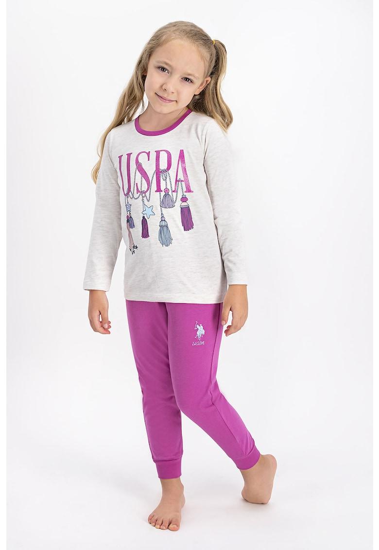 Pijama cu imprimeu logo si grafic de la US Polo Assn