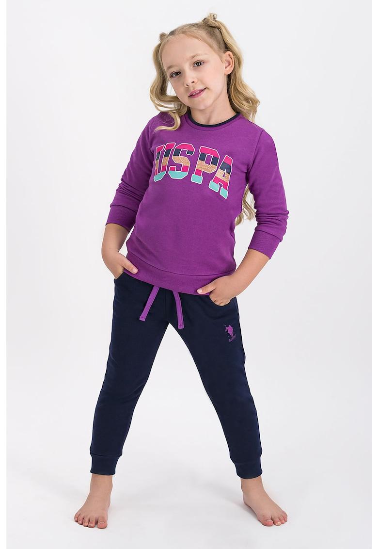 Pijama cu maneci lungi si logo supradimensionat imagine fashiondays.ro