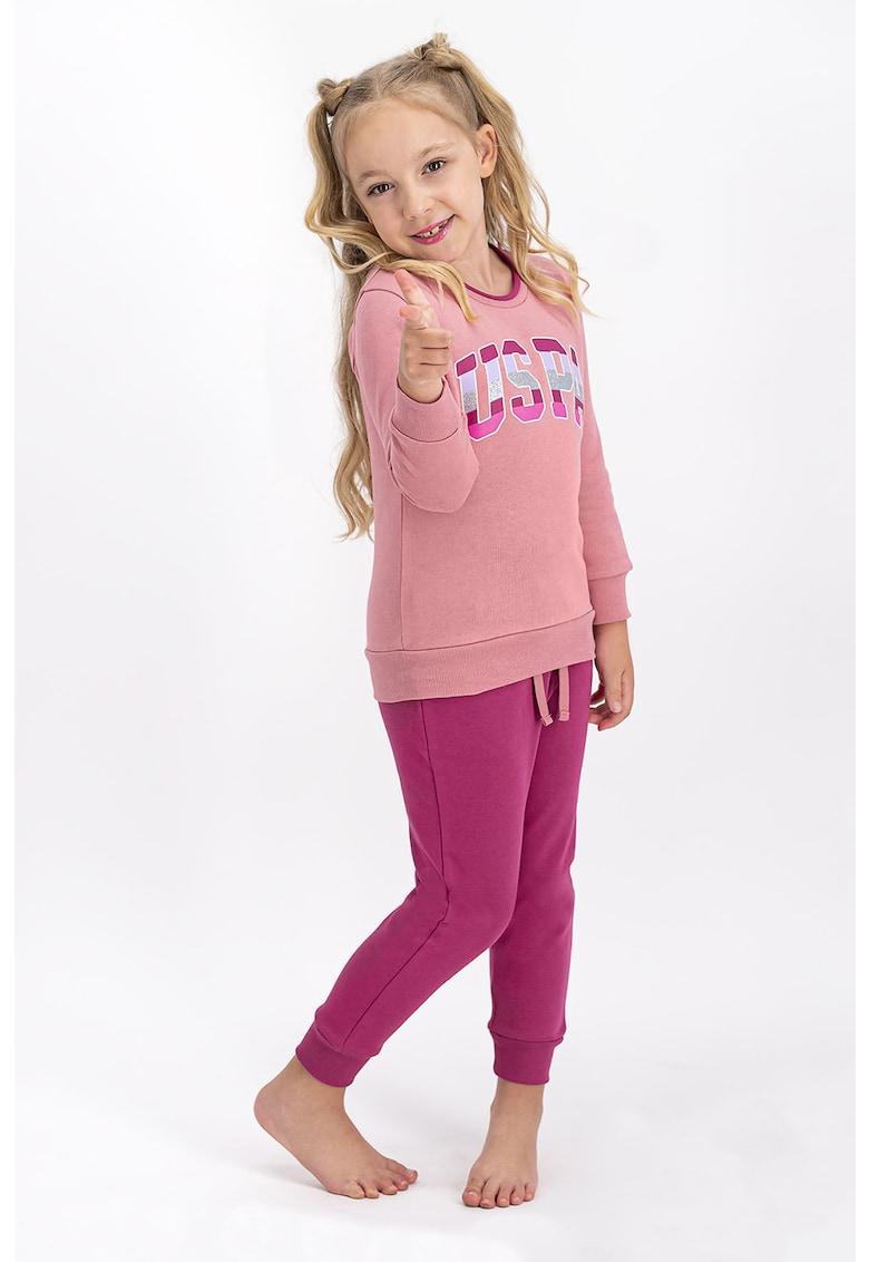 Pijama cu imprimeu logo de la US Polo Assn