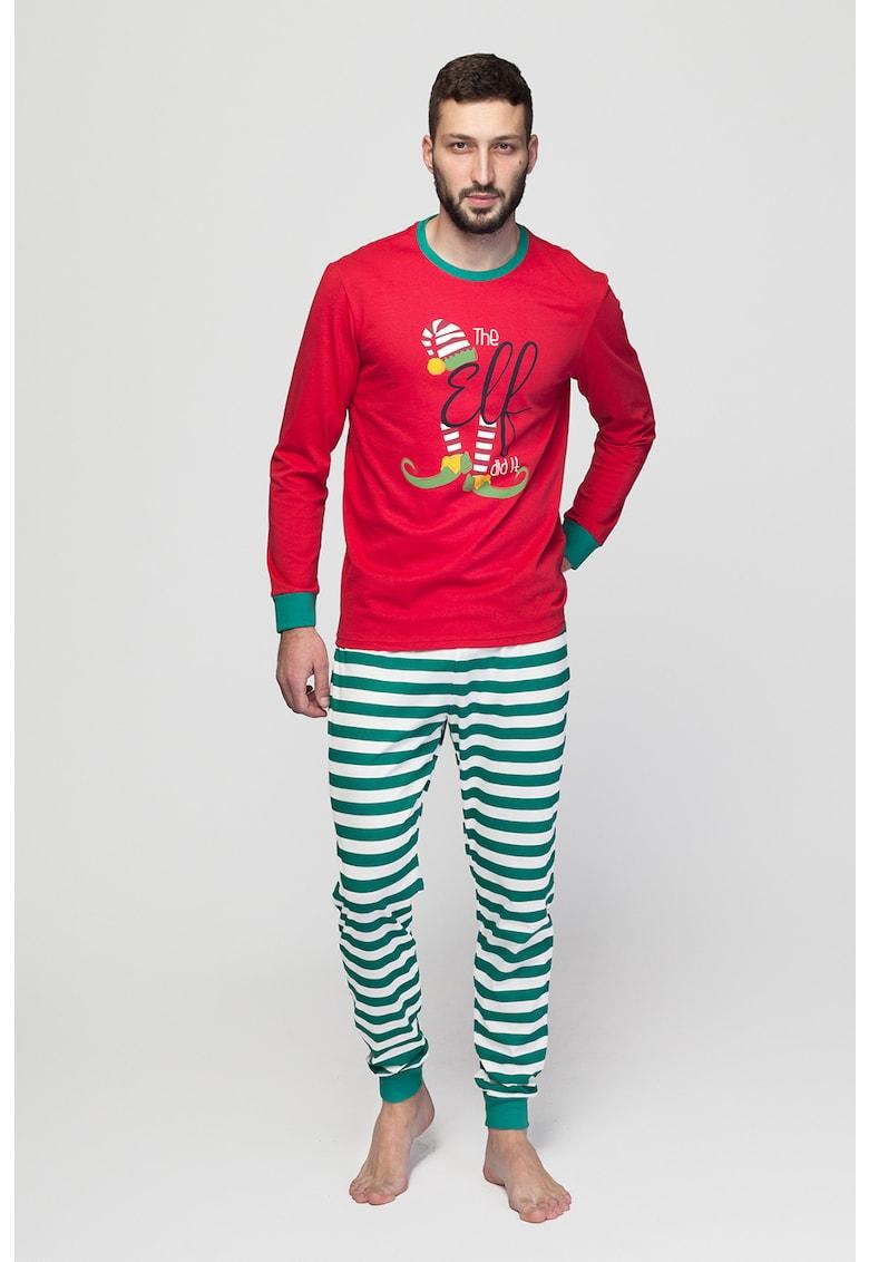 Pijama cu pantaloni lungi si imprimeu cu tematica de Craciun imagine promotie