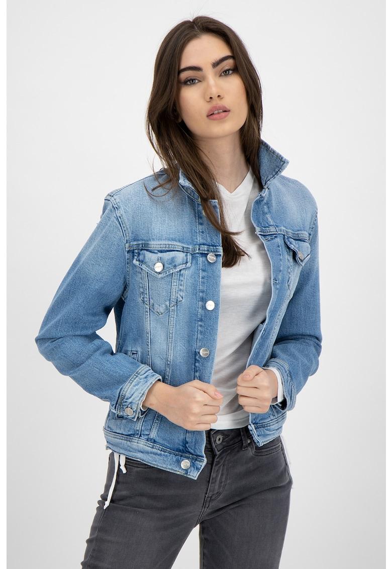 Jacheta din denim cu aspect decolorat imagine