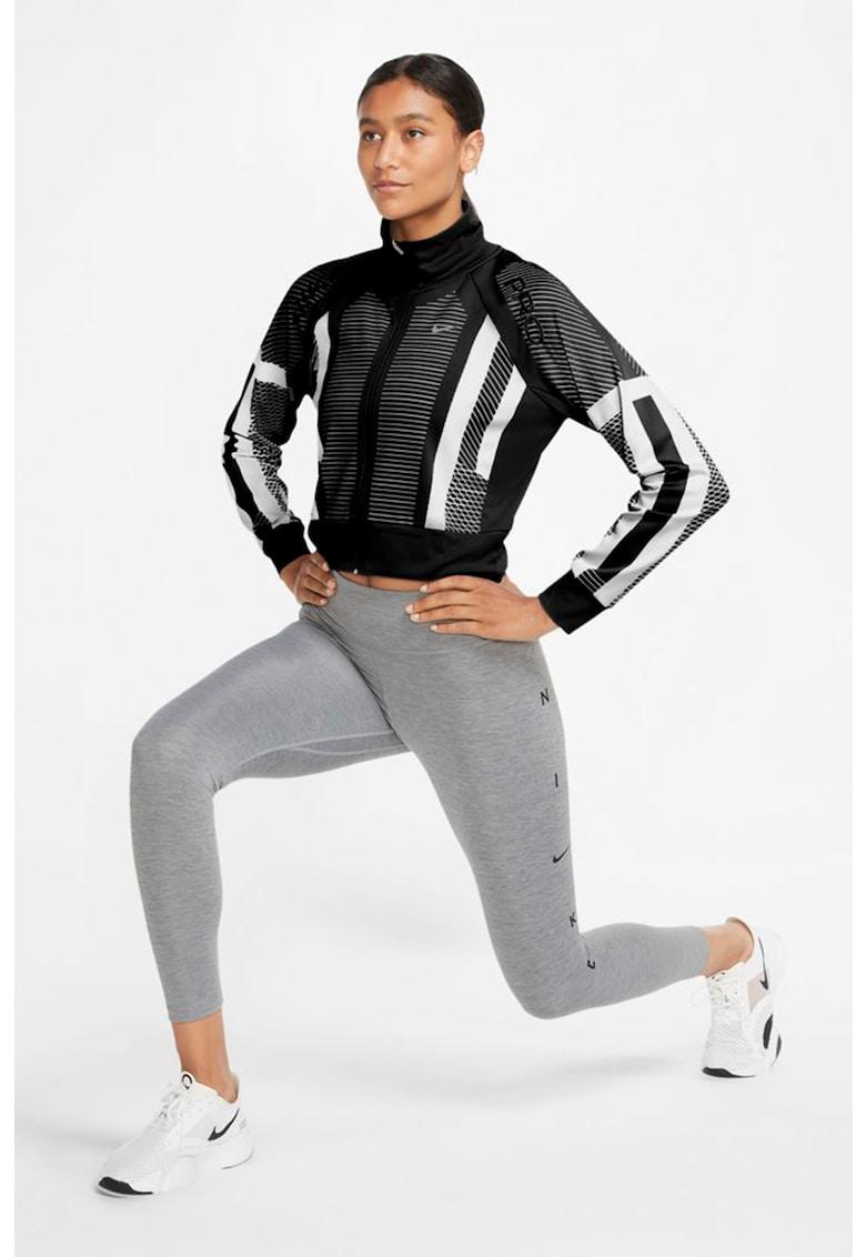Bluza crop cu model si fermoar - pentru antrenament imagine