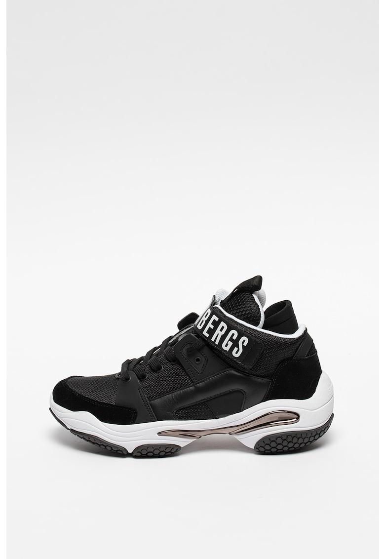 Pantofi sport wedge cu insertii de piele Platon