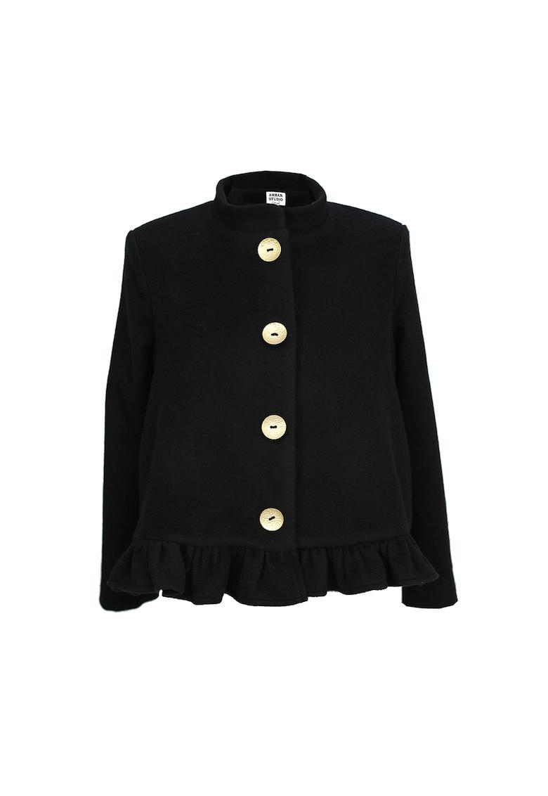 Jacheta din amestec de lana cu terminatie cu volan Amal