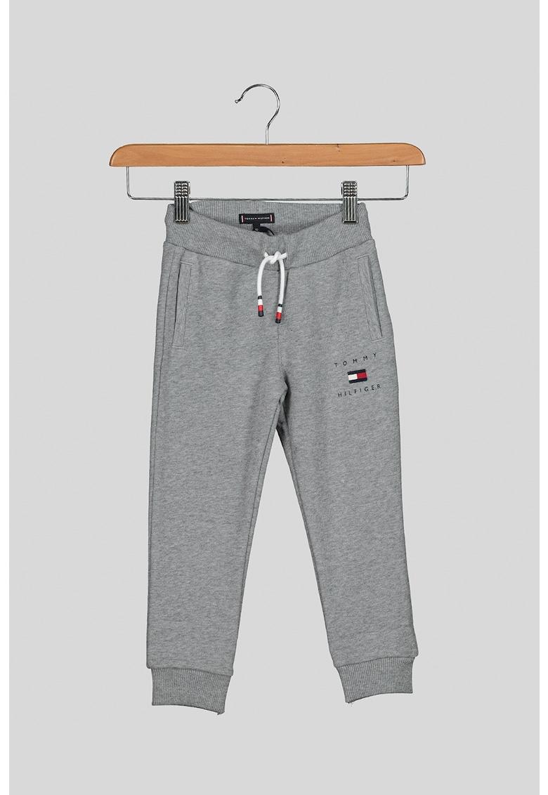 Pantaloni sport de bumbac organic cu snur