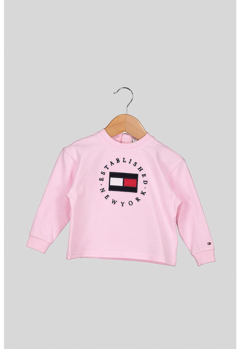 Bluza sport cu decolteu la baza gatului - cu logo brodat imagine
