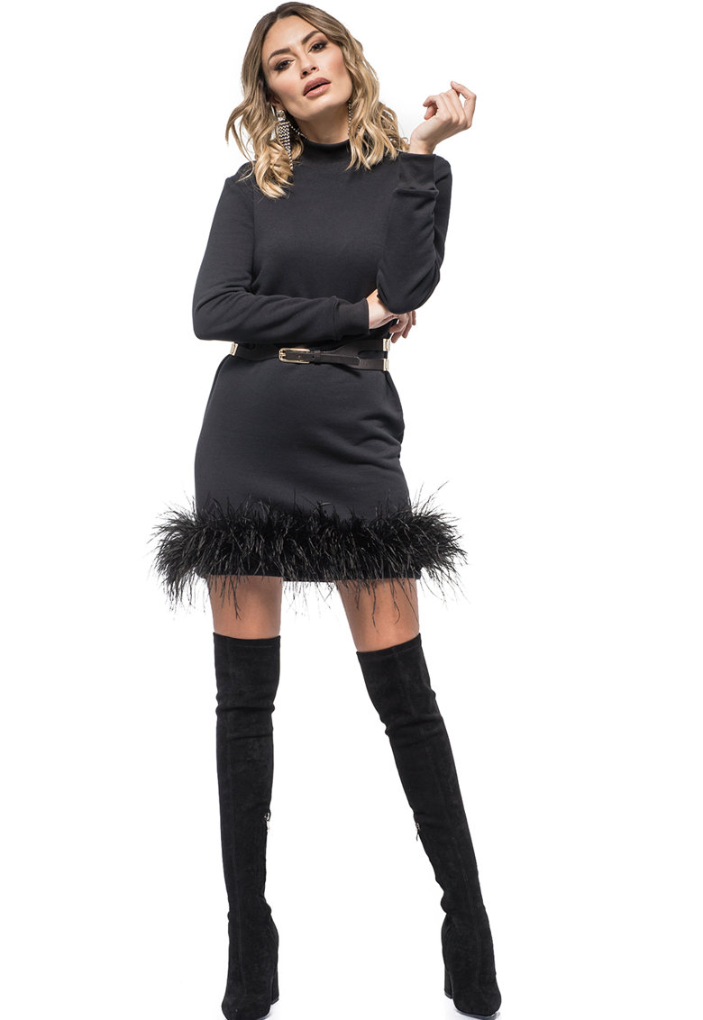 Rochie mini cu pene de strut detasabile Amelie Mini