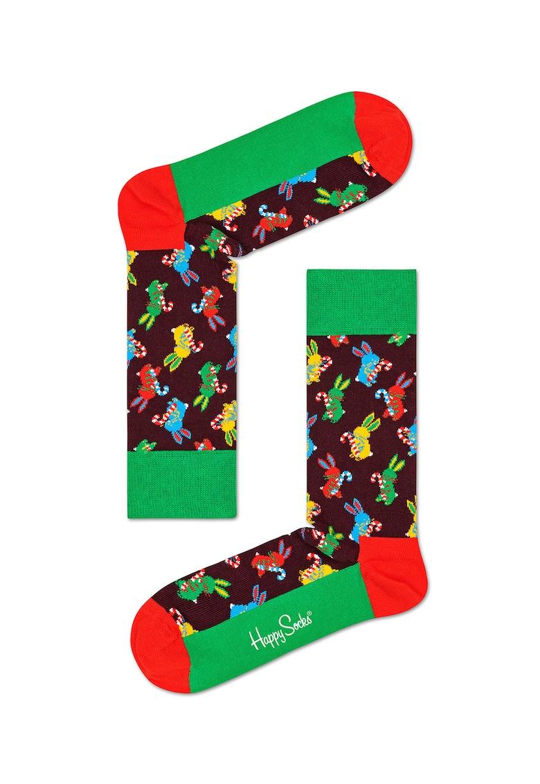 Set de sosete lungi unisex cu imprimeu festiv - 3 perechi imagine