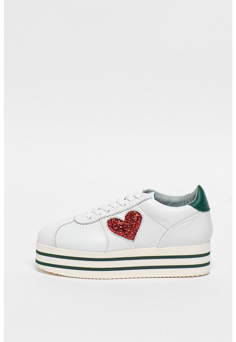 Pantofi sport flatform de piele