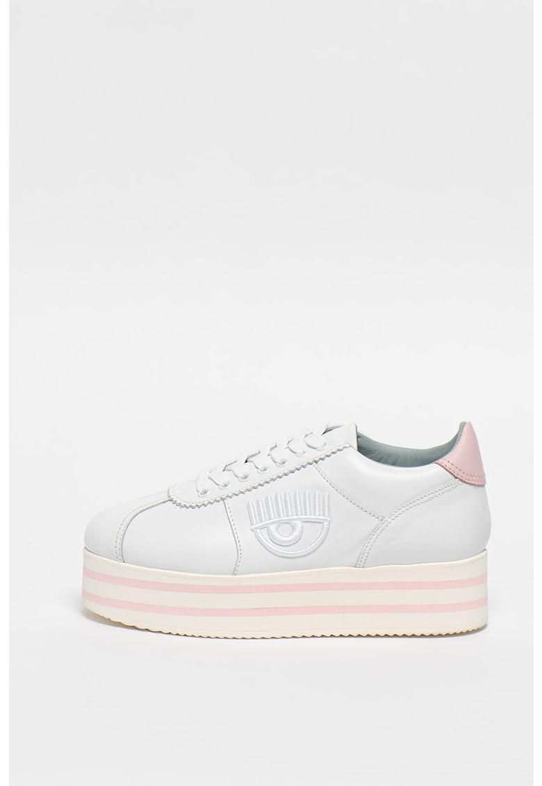 Pantofi sport flatform de piele cu broderie logo