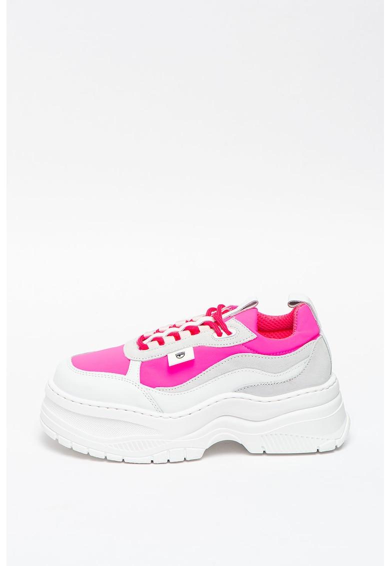 Pantofi sport flatform cu garnituri de piele intoarsa si piele