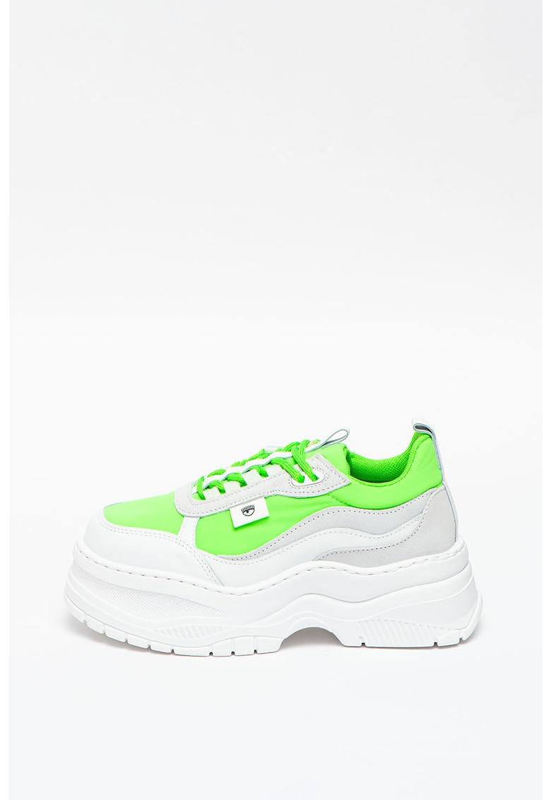 Pantofi sport flatform cu garnituri de piele intoarsa si piele imagine promotie