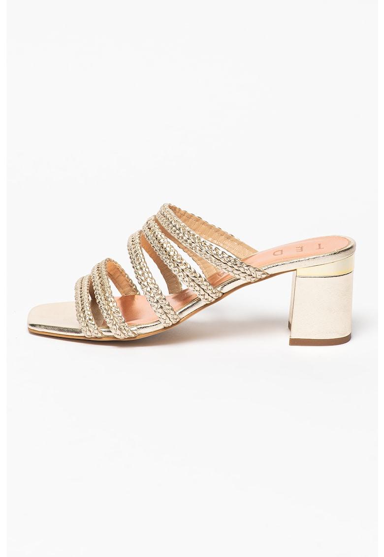Papuci de piele cu design impletit Emaliam